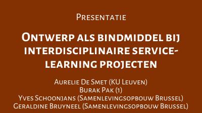 Ontwerp als bindmiddel bij interdisciplinaire service-learning projecten
