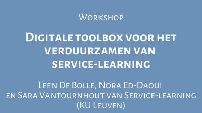 Digitale toolbox voor het verduurzamen van service-learning